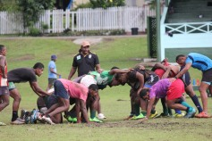 A scrum during practice by the local team in Levuka, Fiji.